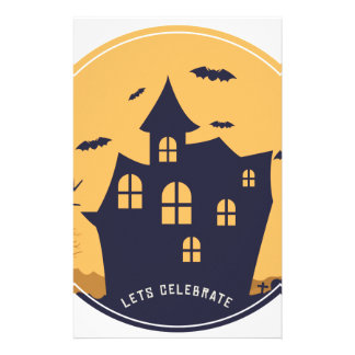 Halloween Spooky Mansion and Bats Stationery