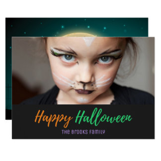Halloween Spooky Moonlight Crow Photo Card