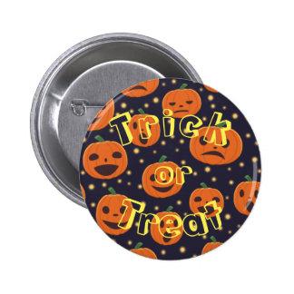 Halloween Spooky Pumpkin Pattern Trick or Treat 2 Inch Round Button