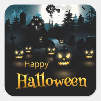 Halloween - Spooky Pumpkins Blue Moon Square Sticker