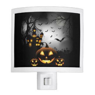 Halloween - Spooky Pumpkins Grey Moon Night Lights