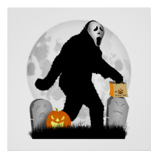 Halloween Squatchin' (Add Background Color) Posters