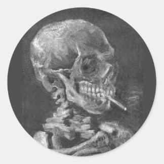 Halloween Sticker Skull Smoking Cigarette