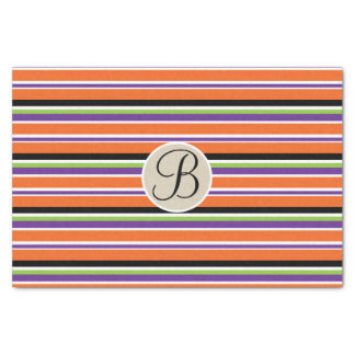 Halloween Stripes Kraft Monogram Letter Initial Tissue Paper