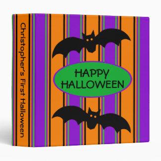 Halloween Stripes Personalized Vinyl Binders