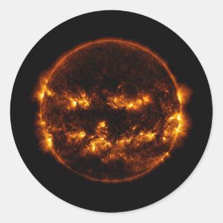 Halloween Sun/Jack-O-Lantern Classic Round Sticker