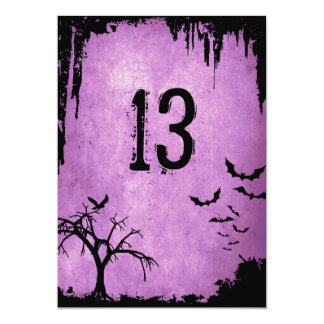 Halloween Table Numbers with bats, crow and tree Card