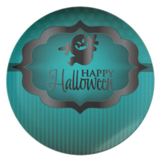 Halloween teal ghost dinner plates
