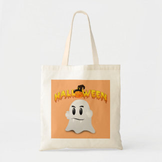 Halloween Text and White Ghost Tote Bag