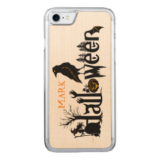 halloween Text Design With Black Crow Carved iPhone 7 Case