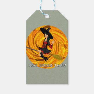 Halloween the witch is in gift tags