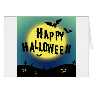 Halloween theme with bats and graveyard card