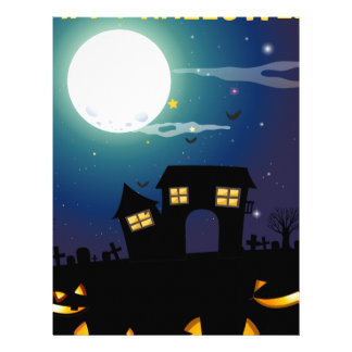 Halloween theme with haunted house and faces letterhead