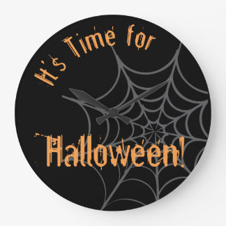 Halloween Themed Clock with Spider and Web
