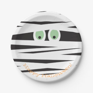 Halloween Themed Plates   Mummy Design