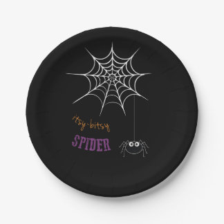Halloween Themed Plates with Spider Web 7 Inch Paper Plate