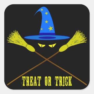 Halloween Treat Or Trick Black Square Sticker
