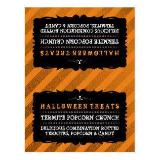 Halloween Treats Food Tent Card - Orange Stripe Postcard