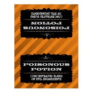 Halloween Treats Tent Card - Orange Stripe Grunge Post Cards