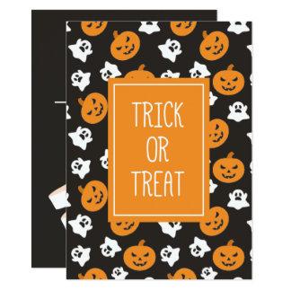 Halloween Trick or Treat Cute Ghosts & Pumpkins Card