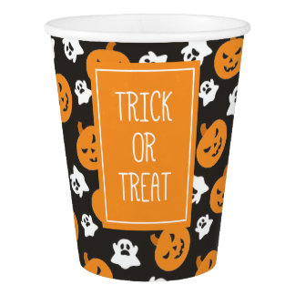 Halloween Trick or Treat Cute Ghosts & Pumpkins Paper Cup