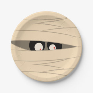 Halloween Trick or Treat Cute Mummy Squiggly Eyes Paper Plate