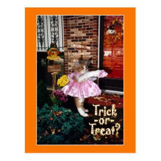 Halloween Trick-or-Treat Kitty Postcard