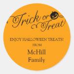Halloween Trick or Treat Label Round Sticker