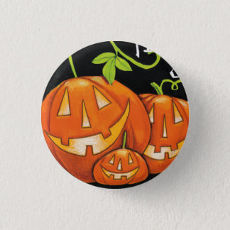 Halloween Trick or Treat Pumpkin and Candy Corn 1 Inch Round Button