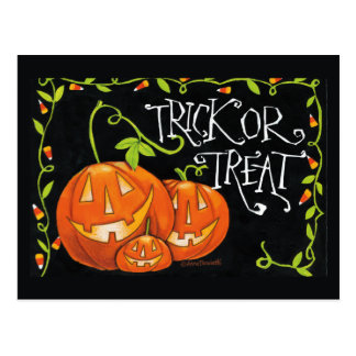 Halloween Trick or Treat Pumpkin and Candy Corn Postcard