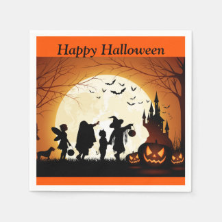 Halloween Trick or Treat Pumpkin Kids Party Napkin Disposable Napkins