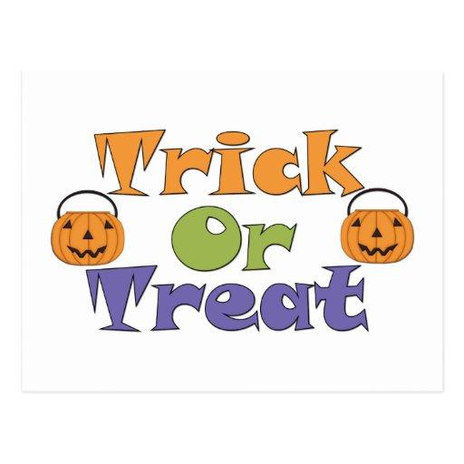 Halloween Trick or Treat Pumpkins Recipe Card Postcard