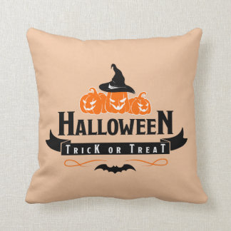 Halloween Trick Or Treat Quote Throw Pillow