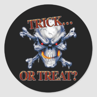 Halloween Trick or Treat Skull Classic Round Sticker