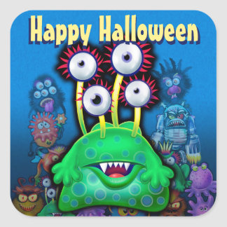 Halloween Trick-or-Treat stickers. MONSTER PARTY Square Sticker