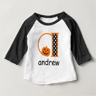 Halloween TShirt w Pumpkin Monogram Initial a