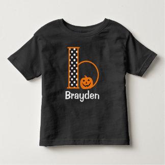 Halloween Tshirt w Pumpkin Monogram Initial b