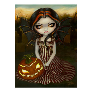 Halloween Twilight gothic fairy pumpkin Art Print