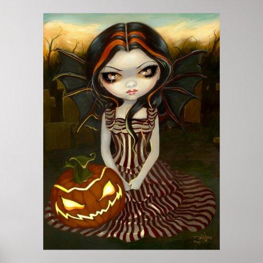 Halloween Twilight gothic fairy pumpkin Art Print