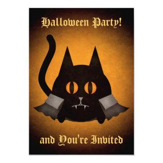 "Halloween vampire cat 5"" x 7"" invitation card"