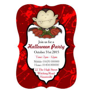 "Halloween Vampire Custom 5"" x 7"" Invitations"