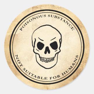 Halloween vintage alchemy poison skull label