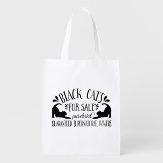 Halloween Vintage Black Cat Reusable Grocery Bags