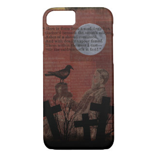 Halloween Vintage Crow Moon Spells Cross Red Black iPhone 8/7 Case