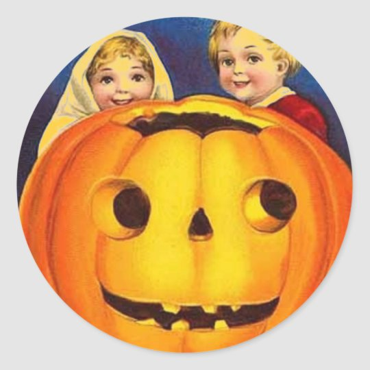 Halloween Vintage Kids & Pumpkin Classic Round Sticker