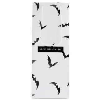Halloween Watercolor Bats Happy Hallowine Wine Gift Bag