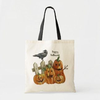 Halloween Watercolor Happy Pumpkins Tote Bag