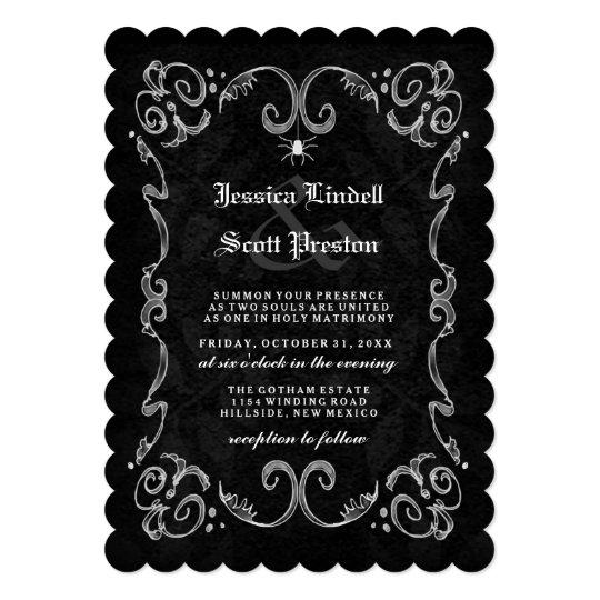 Halloween Wedding Black Gothic RECEPTION ON BACK Card