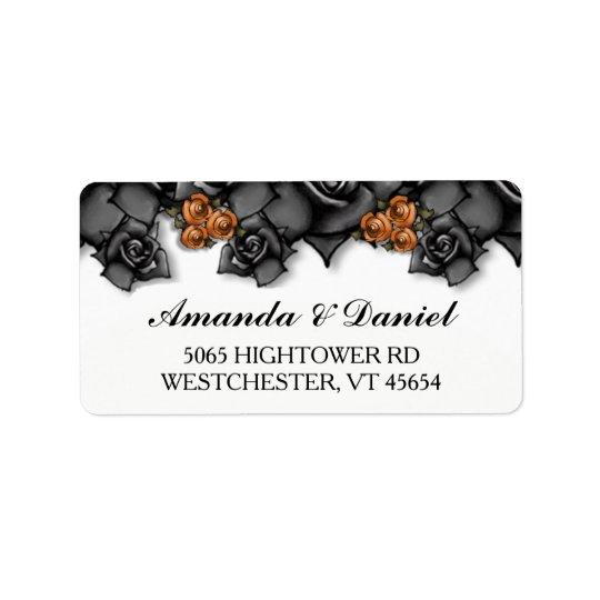 Halloween Wedding Black Orange Roses Address Label