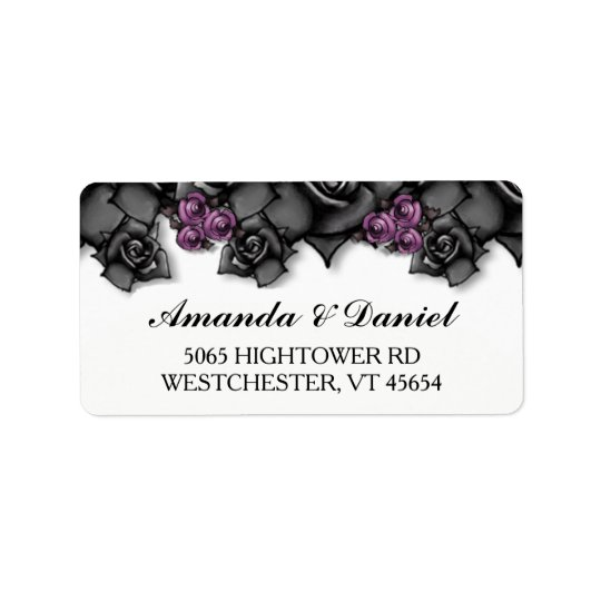 Halloween Wedding Black Purple Roses Address Label